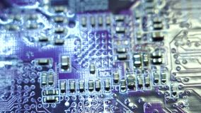Computer chip close-up stock video footage