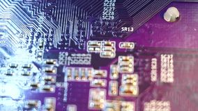 Computer chip close-up stock footage