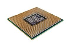 Computer chip closeup on the gold contacts, isolate image. On white background Royalty Free Stock Photo