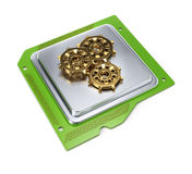 Computer chip with cogwheels Royalty Free Stock Photos