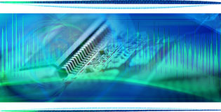 Computer chip collage 2. Chip and computer astract background collage Royalty Free Stock Image