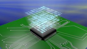 Computer-Chip, der Daten verarbeitet stock video