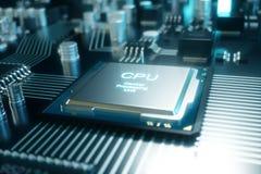 Computer-Chip der Illustration 3D, ein Prozessor auf einer Leiterplatte Das Konzept der Datenübertragung auf die Wolke Stockbild