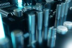 Computer-Chip der Illustration 3D, ein Prozessor auf einer Leiterplatte Das Konzept der Datenübertragung auf die Wolke Lizenzfreie Stockfotografie