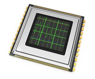 Computer chip with diagram Stock Photos