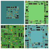 Computer chip electronic circuit board with processor flat vector illustration set. Stock Images