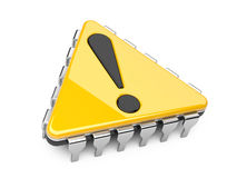 Computer chip with exclamation sign. Computer chip in the form of a triangle with exclamation sign stock illustration
