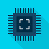 Computer Chip Flat Icon. Computer Chip Icon. Vector Illustration Flat Style Item with Long Shadow stock illustration