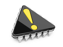 Computer chip with exclamation sign. Computer chip in the form of a triangle with exclamation sign royalty free illustration