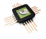 Computer chip with gears Royalty Free Stock Images