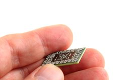 Computer chip in the human hand Royalty Free Stock Photo