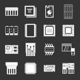 Computer-Chip-Ikonen grau eingestellt lizenzfreie abbildung
