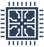 Computer chip, integrated circuit Isolated Vector Icon That can be easily edited in any size or modified. royalty free illustration