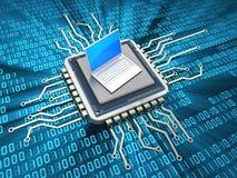 Computer chip and laptop Stock Photos