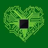 Computer-Chip mit Herzsymbol stock abbildung