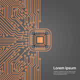 Computer Chip Moterboard Network Data Center System Concept Banner. Vector Illustration stock illustration
