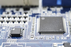 Computer chip on motherboard Royalty Free Stock Photography