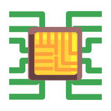 Computer Chip Plugged To The Maternal Board, Part Of Futuristic Robotic And IT Science Series Of Cartoon Icons royalty free illustration