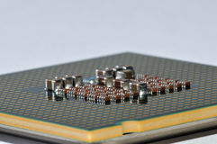 Computer Chip side Macro Royalty Free Stock Photos