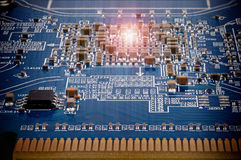 Computer Chip Technology. Abstract hardware Electronics - video board. Macro shoot of graphics adapter card  with large depth of focus Royalty Free Stock Images