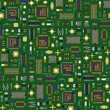 Computer chip technology processor circuit motherboard information system seamless pattern background vector Royalty Free Stock Images