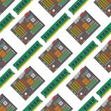 Computer chip technology processor seamless pattern background circuit motherboard information system vector royalty free illustration