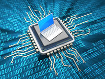 Computer-Chip und Laptop Stockfotos