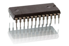 Computer chip on white Royalty Free Stock Photos