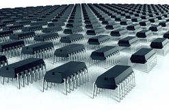 Computer chips aligned as an army of bugs Royalty Free Stock Image