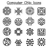 Computer Chips and Electronic Circuit icons in thin line style. Vector illustration graphic design stock illustration