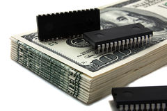 Computer chips on Money Stock Image
