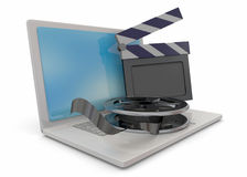 Computer and Cinema - 3D Royalty Free Stock Photos