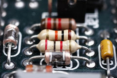 Computer circuit. A macro of computer circuit components Royalty Free Stock Photography