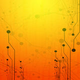 Computer circuit. On a bright orange background Stock Photography