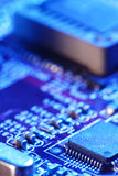 Computer circuit board. In blue light Royalty Free Stock Photos
