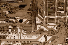 Computer circuit board. Shot of the back side of a computer mother board Stock Images