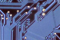 Computer Circuit Board. Closeup of a blue computer circuit board Royalty Free Stock Photos