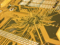 Computer Circuit Board. A computer mother board up close Royalty Free Stock Photo