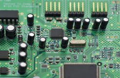 Computer circuit board. Fragment of the electronic circuit - computer board with chips and components Royalty Free Stock Images