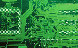 Computer circuit board. Green circuit board without components Royalty Free Stock Images
