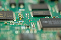 Computer Circuit Board. With very shallow depth of field Royalty Free Stock Photo