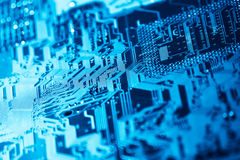 Computer circuit board. With shallow depth of field Stock Photos