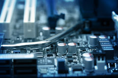 Computer Circuit Board. With set of electronic elements close up Royalty Free Stock Images