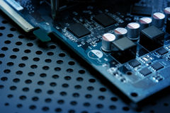 Computer Circuit Board. With set of electronic elements close up Stock Images