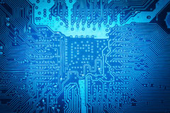 Computer circuit board background. Blue computer circuit board as abstract technology background Royalty Free Stock Photography