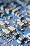 Computer Circuit Board Close Up Macro. Microchips, Transistors, Stock Image