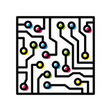 Computer circuit board colorful isolated black outline Royalty Free Stock Image