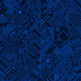 Computer circuit board dark blue pattern - vector seamless hi te Royalty Free Stock Image
