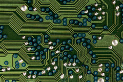 Computer circuit board in green Royalty Free Stock Photos