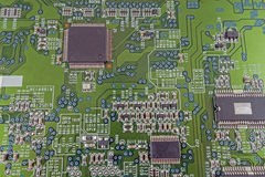 Computer circuit board. Green circuit board without components Royalty Free Stock Photos